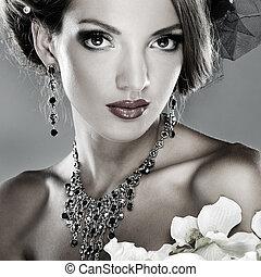 foto, av, vacker, flicka, in, bröllop, utsmyckningar, in, mode, stil