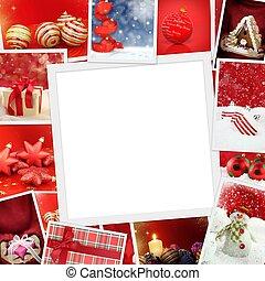 foto, avskrift, jul, kollektion, utrymme