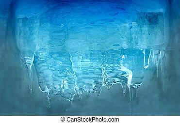 foto, azul, transparente, carámbanos