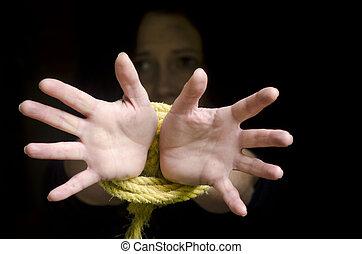 foto, begrepp, -, trafficking, mänsklig