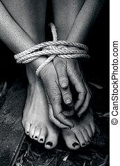 foto, begriff, -, trafficking, menschliche