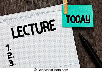 foto bericht, lecture., onderwijs, lang, schrijvende , achtergrond., hout, toespraak, vasthouden, conceptueel, onderwijs, herinnering, zakelijk, scholieren, het tonen, hand, aantekenboekje, publiek, belangrijk, showcasing, praatje