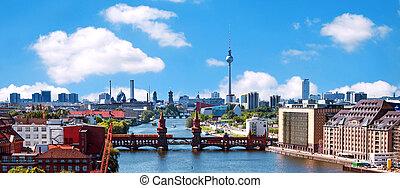 foto, berlin, luftaufnahmen, skyline