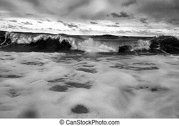 foto, black , witte , stormachtige zee