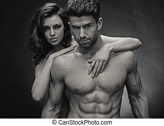 foto black&white, di, sensuale, coppia