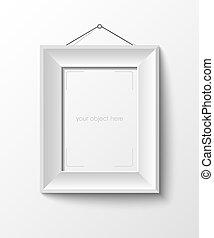 foto, blanco, marco, su