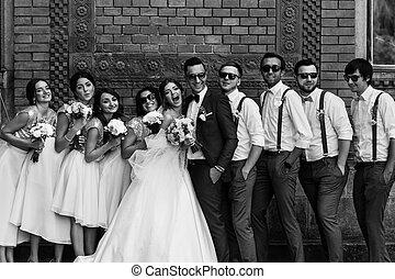 foto blanquinegra, de, el, pareja, con, el, amigos