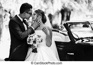 foto blanquinegra, de, el, pareja, en, el, boda