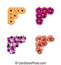 foto, bloemen, hoeken