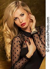 foto, blonde, dame, aantrekkelijk, posing.