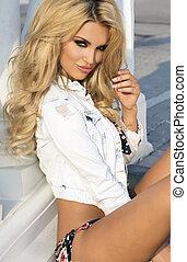 foto, blonde, lady., sensueel, beauty