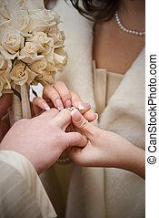 foto, bröllop, naturlig, puttting, ring.