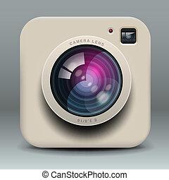 foto, branca, câmera, ícone