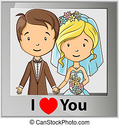 foto, bruidegom, spotprent, kaart, bruid