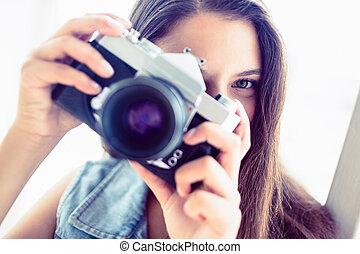 foto, brunetta, donna, presa