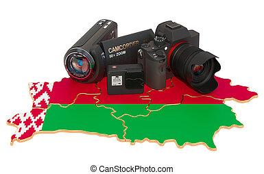 foto, cámara, disparando, viaje, acción, cámara, belorussian, camcorder video, 3d, interpretación, map., digital, belarus.