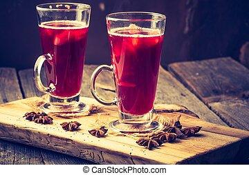 foto, calentó con azúcar y especias vino, anteojos, vendimia