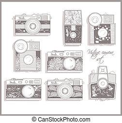 foto, camaras, conjunto, retro