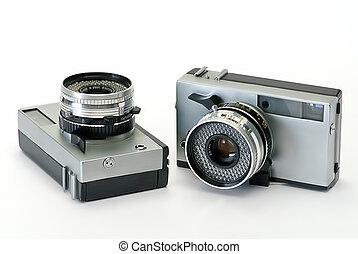 foto, cameras, oud, twee