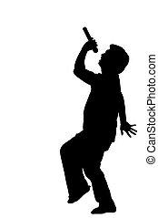 foto, cantor, silueta, felicidade, microfone