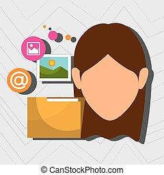 foto, cartella, donna, web