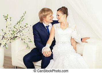 foto casamento, disparar, em, a, total, branca, estúdio
