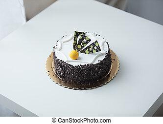 foto, chocolade, prachtig, smakelijk, heerlijk, taart, tafel, witte