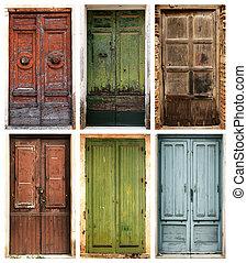 foto, collage, av, 6, vacker, forntida, dörrar