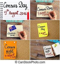 foto, collage, de, census, día, 9, agosto, 2016, australia, concepto, imágenes