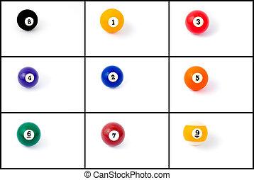 foto, collage, de, pelotas billar, de, uno, a, nueve, aislado, blanco, plano de fondo