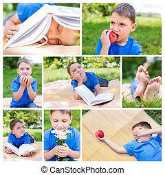 foto, collage, van, jongen, op, picknick