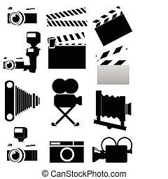 foto, colour., ilustración, siluetas, vector, vídeo, cámaras, negro
