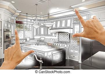 foto, combinatio, custom design, incorniciatura, mani, ...