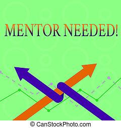 foto, competition., leiding, steun, twee, schrijvende , anderen, tekst, conceptueel, het tonen, zakelijk, raad, needed., hand, een, opleiding, ineengestrengelde, noodzakelijk, pijl, op, mentor, team, of