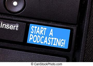 foto, computer toetsenbord, boodschap, podcasting., intention, scheppen, schrijvende , start, conceptueel, archief, voorbereiding, zakelijk, het tonen, hand, klee, gebruik, rss, idea., showcasing, verdeling, audio