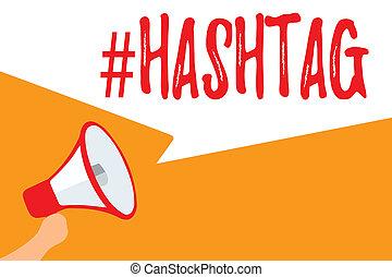 foto, comunicazione, segno, etichetta, messaggio, fuori, altoparlante, media, strategia, discorso, testo, concettuale, megafono, parlante, motore, loud., esposizione, internet, importante, hashtag., bolle, ricerca, sociale