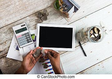 foto, conceito, computador, finanças, moedas