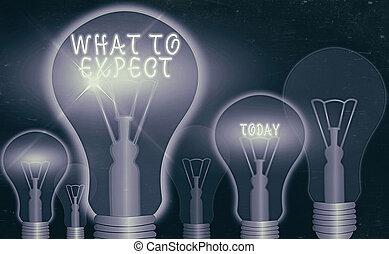 foto, conceptueel, zakelijk, expect., schrijvende , waarschijnlijk, achting, happen, vragen, hand, iets, het tonen, occur., over, showcasing, wat