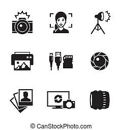 foto, conjunto, iconos