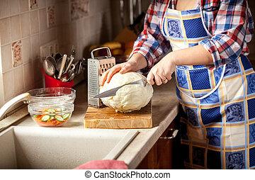 foto, corte, mujer, col, cocina
