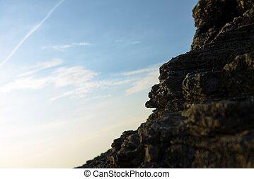 foto, costa, closeup, pedras