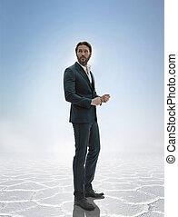 foto, de, un, elegante, guapo, hombre de negocios