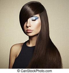 foto, di, bella donna, con, magnifico, capelli