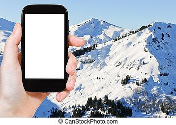 foto, di, nevoso, picchi, di, alpi, montagne, francia