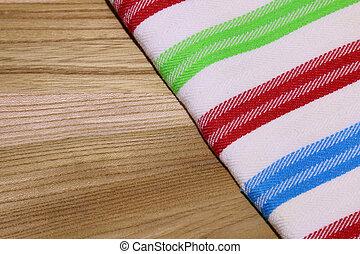 foto, di, tovaglia, (dishtowel), su, tavola legno