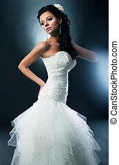 foto, -, disirable, noiva, bonito, casório, modelo, vestido, branca
