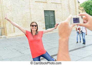 foto, donna, saltare