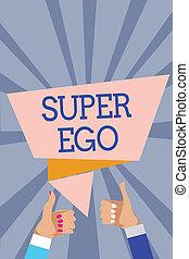 foto, ego., donna, pollici, anima, qualsiasi, raggi, stesso, scrittura, fondo., discorso, testo, concettuale, bolla, suo, affari, esposizione, mano, mani, approvazione, super, uomo, delega di responsabilità, su, persona, intero, o
