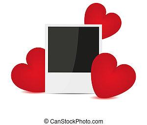 foto, en, rood, hartjes