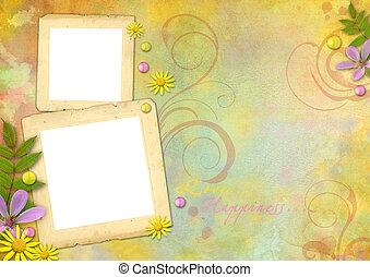 foto encuadra, en, el, resumen, pastel-colored, papel, plano...